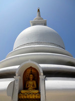 Sri Lanka White Stupa Golden Buddha Bright Blue Sky