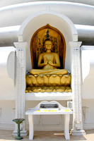 Sri Lanka White Stupa With Sitting Gold Buddha